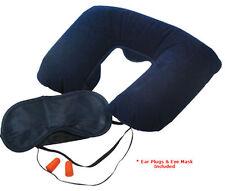 3pc Travel Sleep Set Neck Pillow Eye Mask Ear Plugs Camping Hiking Fishing Tp331
