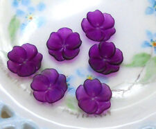 Vintage Flower Beads Lucite 14mm Shabby Floral Grape Purple Posey Bead Caps #719