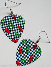 CHERRY GINGHAM GUITAR PICK EARRINGS! ROCKABILLY PIN-UP VINTAGE 1950's CHERRIES