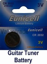Guitar Tuner Replacement Battery CR2032 Eunicell 3V (CR 2032 DL2032 ECR2032)