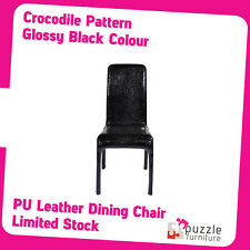 Crocodile Pattern Glossy Black Cover- Dining Chair 1m tall - Brand New