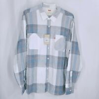 Levi's Mens Casual Button Down Plaid Long Sleeve Shirt White Blue Size XL