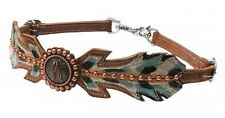 Painted Feather Western MEDIUM Oil Leather WITHER STRAP Breast Collar Horse Tack