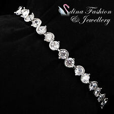 18K White Gold GP Simulated Diamond Round Cut Twisted Clear Tennis Bracelet