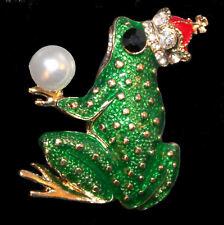 Große Brosche Froschkönig mit Perle und strassbesetzter Krone, Emaille