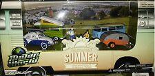 4 pack VW Bugs Summer Festival Scene Diecast 1:64 Greenlight 3 inch Motor World