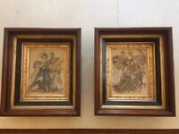 Pair ofAntique picture frames (Eastlake?) with portrayal of Elizabethan clothing