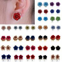 1Pair Fashion Women Mini Crystal Pearl Rose Flower Ear Stud Earrings Jewelry