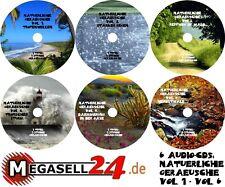 NATÜRLICHE GERÄUSCHE Vol. 1-6 PAKET 6x AUDIO CDs Entspannung Relaxen Chillen NEU