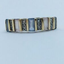 Gems Tv 9ct Yellow Gold Fancy Sapphire & Diamond Ring - Size N (With COA)