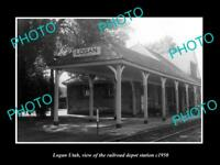 OLD LARGE HISTORIC PHOTO OF LOGAN UTAH, THE RAILROAD DEPOT STATION c1950