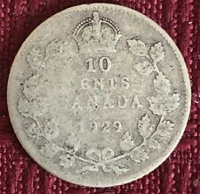 1929 ~ CANADA ~ 10 CENTS ~ GEORGE V ~ G4 Condition (a)