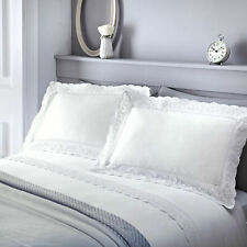 Luxurious Broderie Anglais with Scallop Lace Trim Duvet Cover Set in White