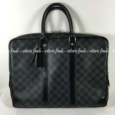 Auth Louis Vuitton Porte Documents Voyage Damier Graphite Canvas Business Bag