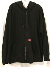 Dickies Men's XL Black Hoodie Sweatshirt Full Zip Front Cotton Work Rieds Fire