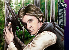 Han Solo Endor Sketch Card Topps Heritage Star Wars Movie Jedi Vader Art Drawing