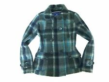 AMERICAN EAGLE OUTFITTERS Gray Teal PLAID WOOL DOUBLE BREASTED COAT Peacoat M