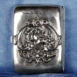 Antique 1903 Birmingham British Art Nouveau Sterling Silver Cigarette Case Box