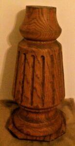 "Antique Oak? Ornate Staircase Newel? 17"" tall Victorian Primitive Salvage Rare"