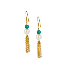 Freshwater Pearl and Turquoise Tassel Drop Earrings
