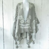 Soft Surroundings Frosted Floral Poncho Wrap Sweater Tassel One Size S M L XL