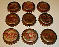 Vintage Lot (9) Old Style Lager Cork Lined Beer Bottle Caps La Crosse, Wisconsin