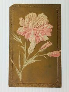 Vintage Postcard 1911 Carnation Flower with Gold Background Embossed