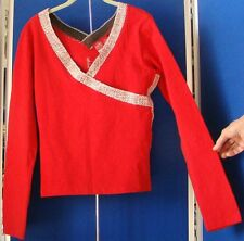NWT Sexy KNIT Stretch TOP by JOHNNY GIRL V-Neck FRONT & Back RED Sz 3XL w. LOGOS