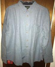 New Men's Woolrich Sportsman Chamois Long Sleeve Shirt Oxford Blue Heather XXL
