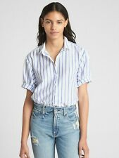 Women Gap Short Sleeve Stripe Shirt SIZE XL Blue Stripe