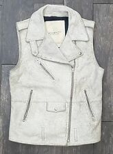 NEW Women's Ralph Lauren Denim & Supply Leather Jacket Moto Vest Vintage White