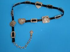 Brighton Vintage Heart Concho Silver Chain Belt with 2 B Logos 41903 Large 41