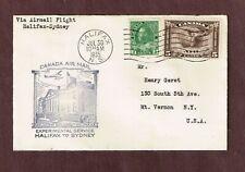 Canada 1935 FFC Halifax-Sydney Cachet 5c Airmail # C2 +2c Admiral coil #128 dry