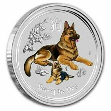 🔥 (20) 2018 ~ 1/4 OZ. .9999 SILVER LUNAR YEAR of the DOG COLOR~ PERTH MINT ROLL