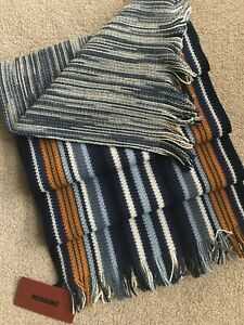 MISSONI MULTISTRIPE SCARF REVERSIBLE DOUBLE LAYERED MADE IN ITALY BNWT