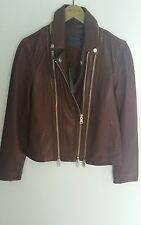 Worn once. Allsaints Dare biker leather jacket.uk 8.Sahara/burgundy/brown.£358