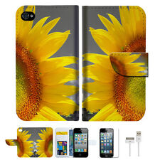 Sunflower Wallet Case Cover For Apple iPhone 4 4S -- A012