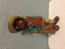 Mexico Mexican Man Doll Painted Head Hands Cloth Wire Body Sombrero