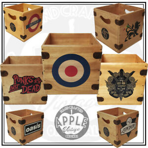 """Record Box 7"""" Retro Handcrafted Wooden Singles Crate Great Multi-Buy Discount"""