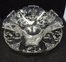 Vtg Tiffin Cherokee Rose Etched Glass Large Beaded Serving Plate & Crimped Bowl