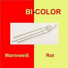 10 Stück Tower LED 2mm DUO Bi Color Rot/Warmweiß klar 3-Pin Lichtwechsel C3290