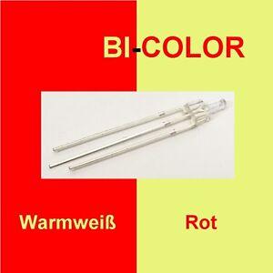 10 Stück Tower LED 2mm DUO Bi Color Rot/Warmweiß klar 3-Pin Lichtwechsel F10/1