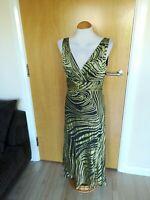 Ladies PRINCIPLES Dress Size 12 Green Black Mother Of Bride Midi Party Wedding