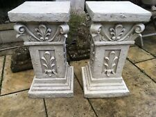 Pair Of Vinatge Stone Effect Ornate Pedestals , Pillars,columns