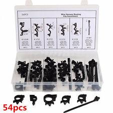54x Car Wiring Clip Kit Harness Retainer Loom Tubing Clamp Fastener for Auveco