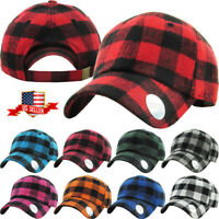 Buffalo Plaid Curved Visor Baseball Cap Dad Hat Polo Style Low Crown