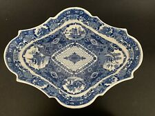 English Antique Blue Transferware Compote Bowl On Pedestal