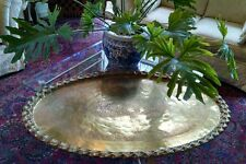 "Huge Heavy 46"" Etched Brass Serving Tray Table Top or Oval Fireplace Cover 16lbs"