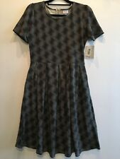 LuLaRoe Black Noir & White Christmas Holiday Plaid Amelia Dress L NWT