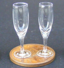 1:12 Scale 2 Wine Glasses Tumdee Dolls House Miniature Drink Accessory GLA14